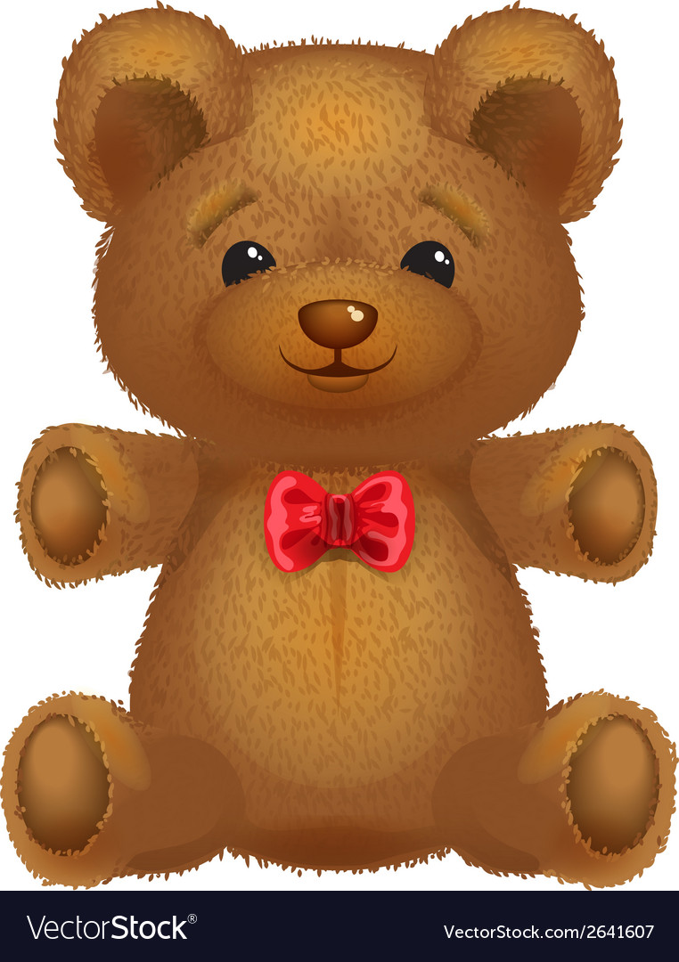 Teddy bear brown with a red bow