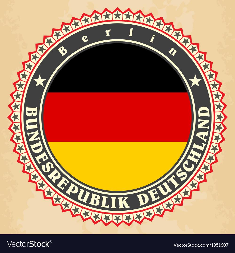 Vintage label cards germany flag