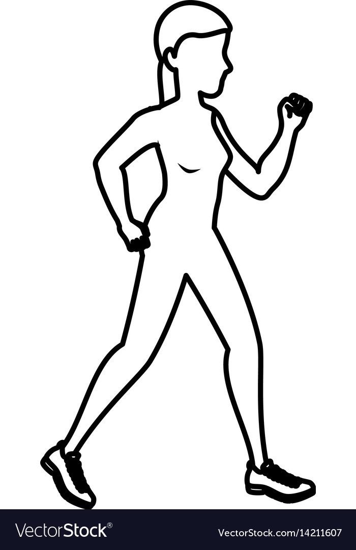 Woman running silhouette icon