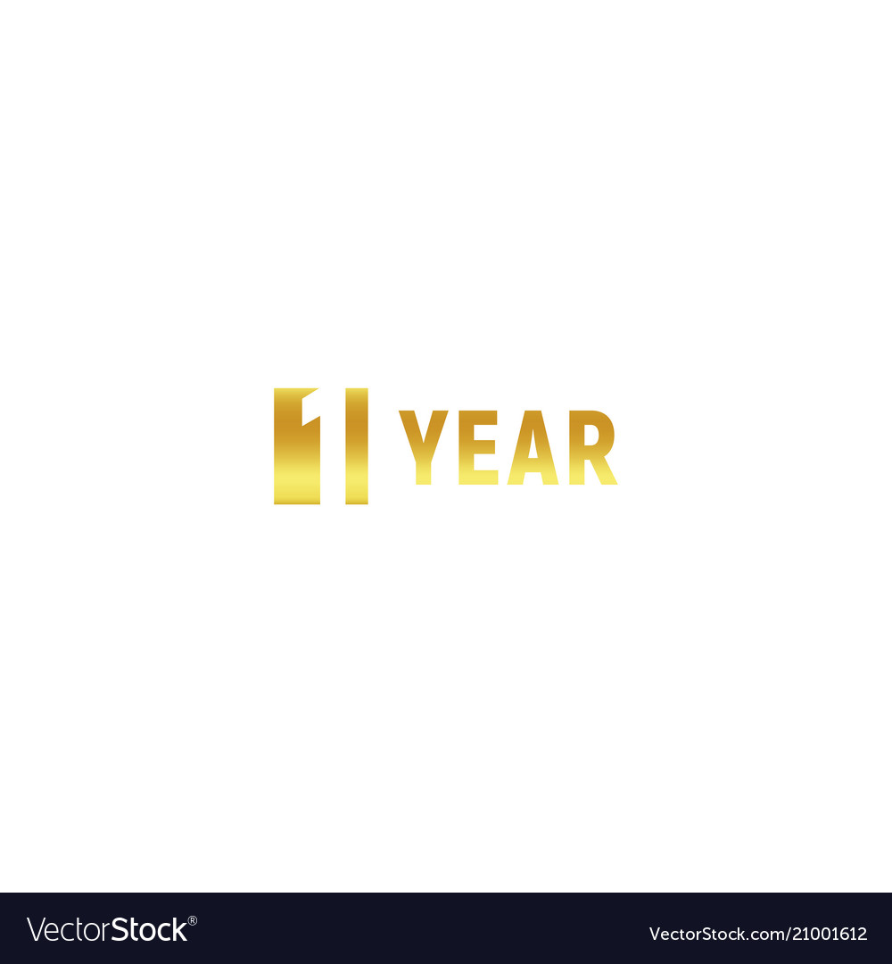 1 year happy birthday gold logo on white vector image