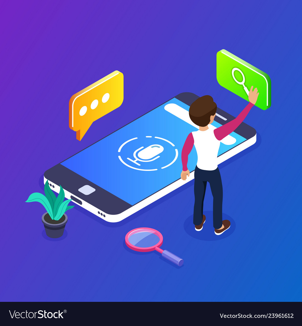 3d isometric voice search concept search for