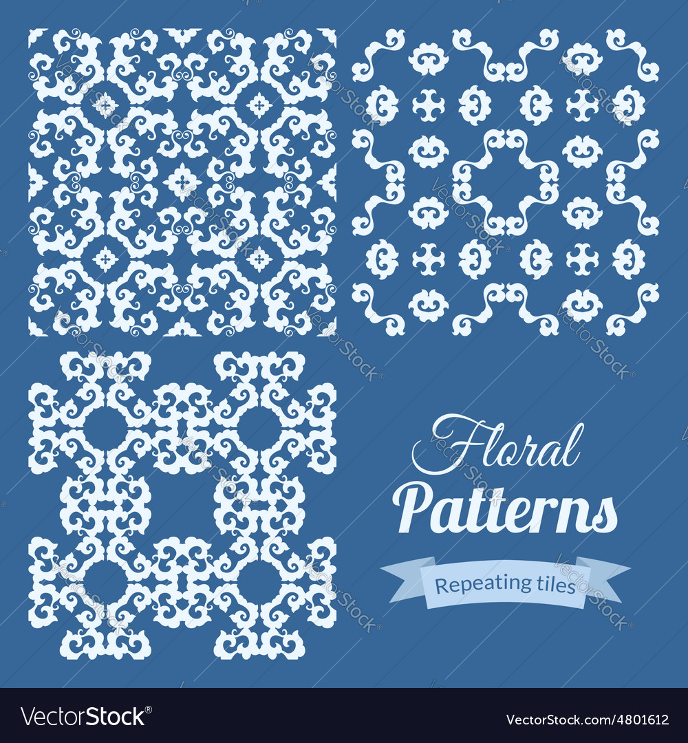 Abstract seamless floral patterns set
