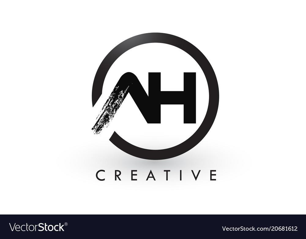 Ah brush letter logo design creative brushed