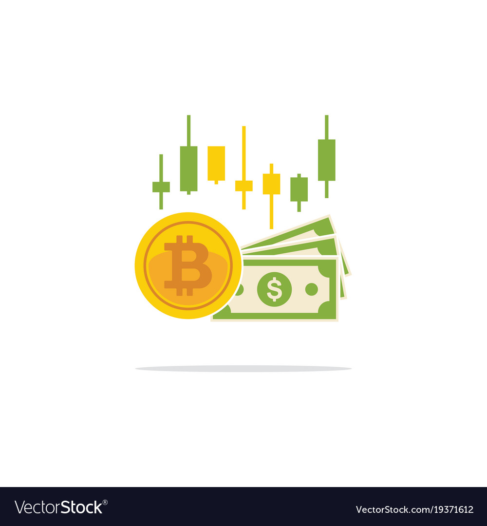 Bitcoin and banknotes of dollars in flat style