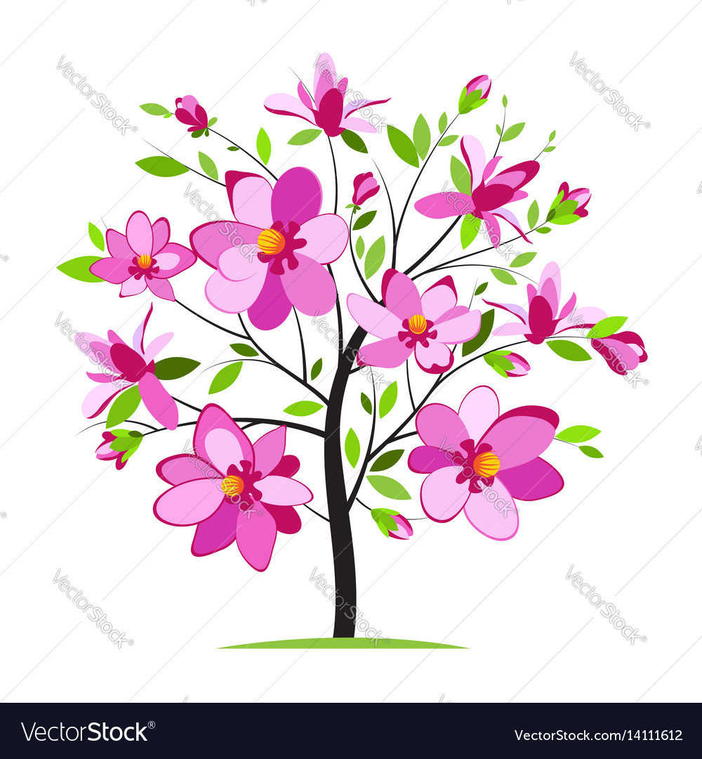 Blooming colorful tree
