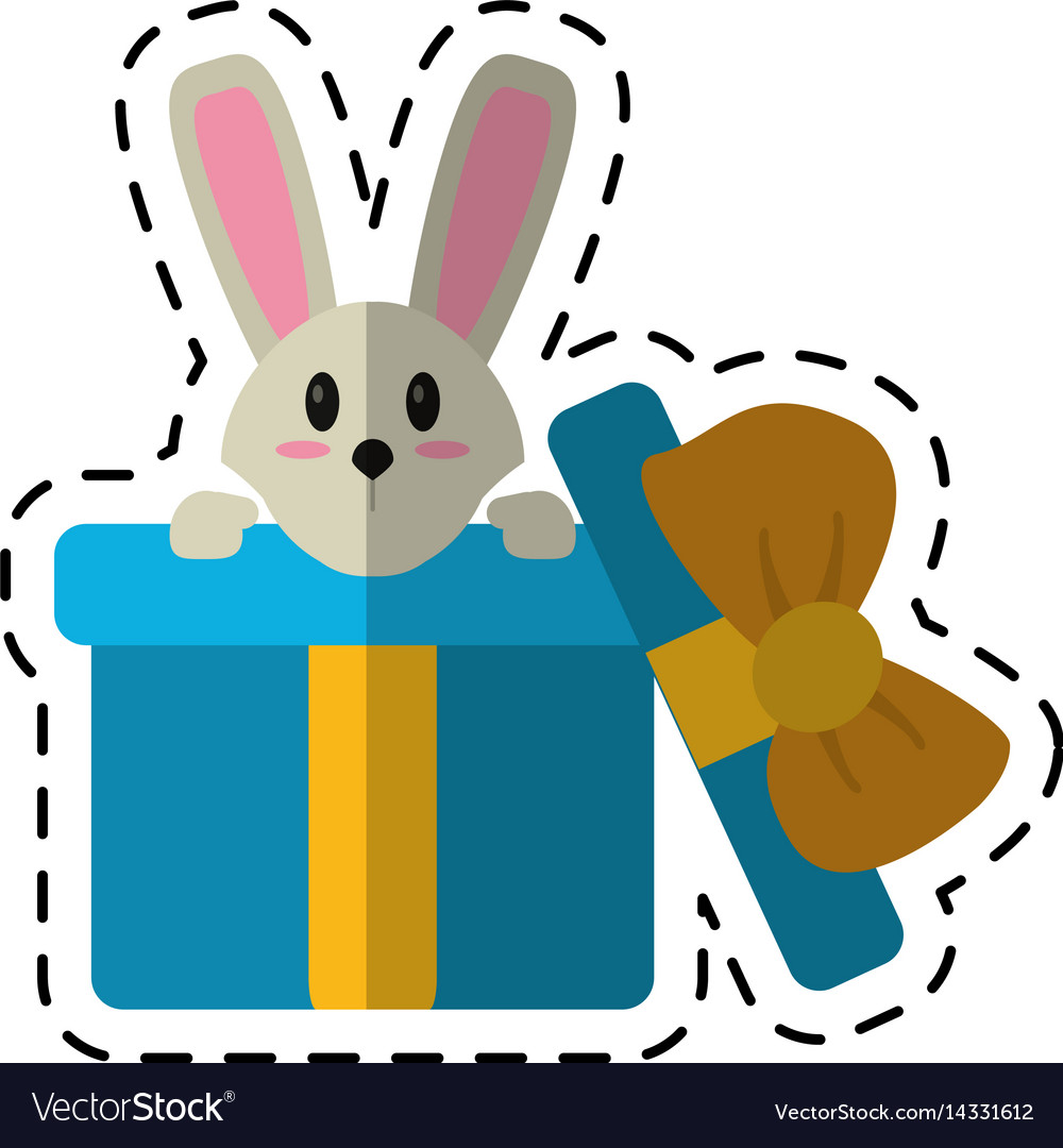 Cartoon cute rabbit hiding gift box surprise vector image