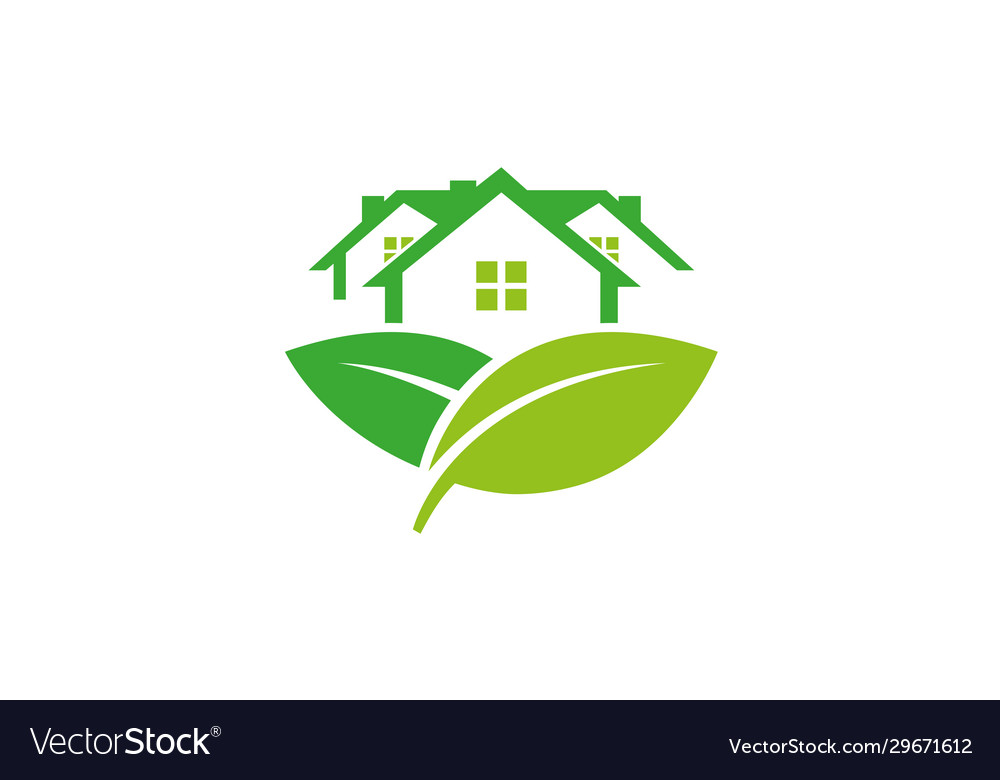 Creative abstract building leaves icon logo