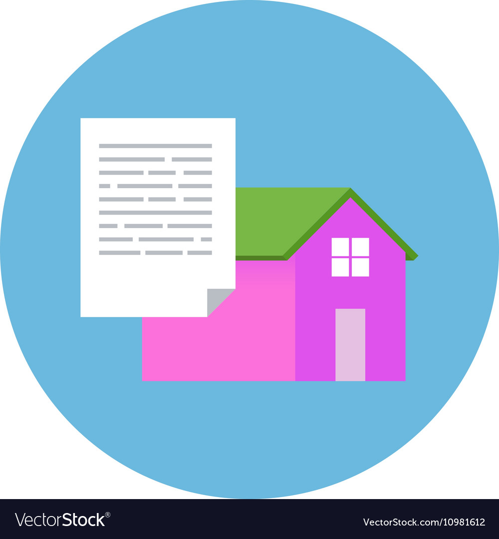 Flat Design Realty Icon Home with Document
