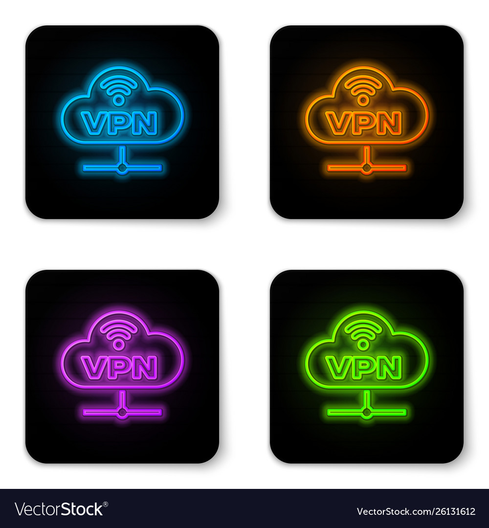 Glowing neon vpn network cloud connection icon