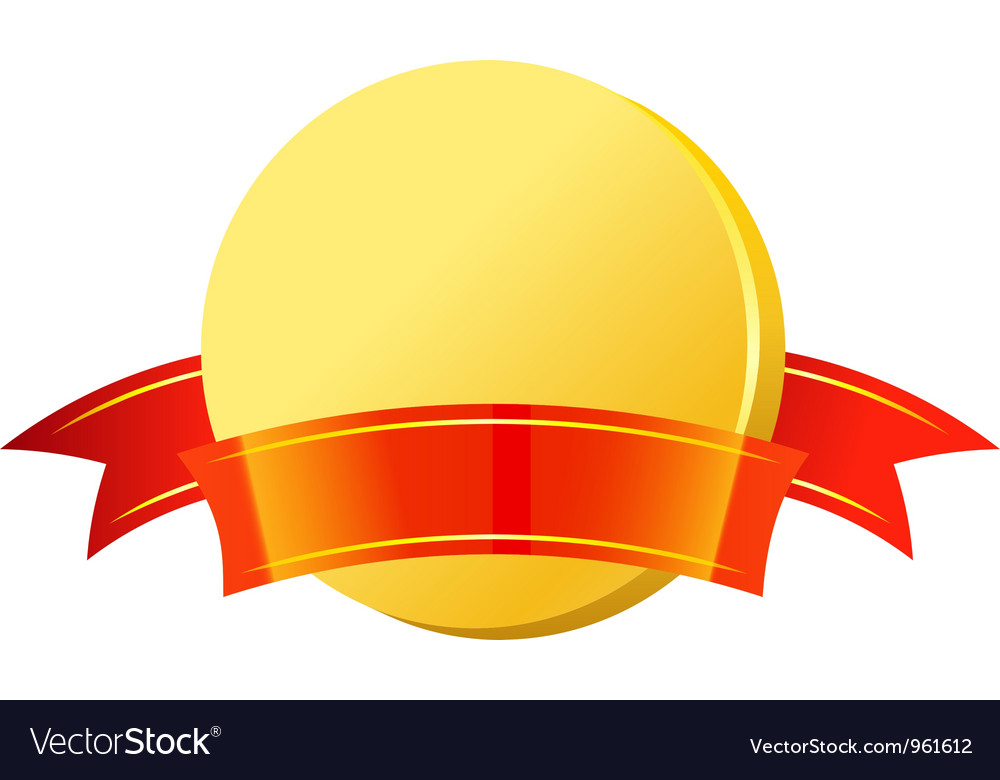 Gold coin with red ribbon vector image