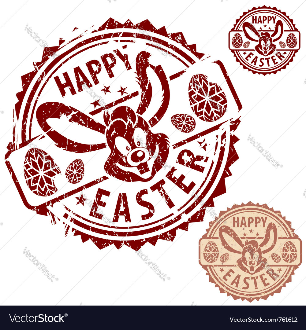 Grunge easter stamps vector image