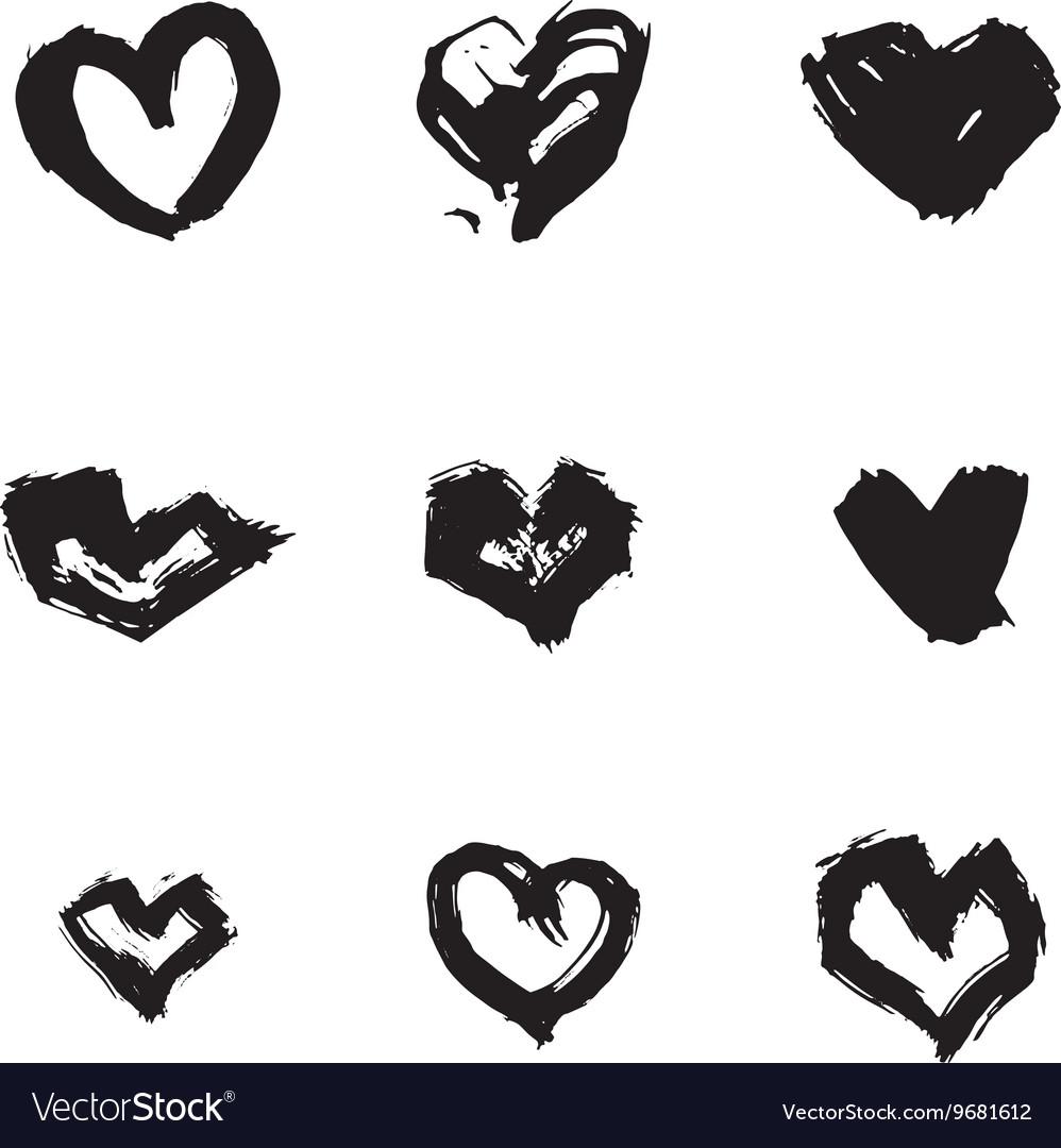 Hand drawn ink heart symbol set Abstract