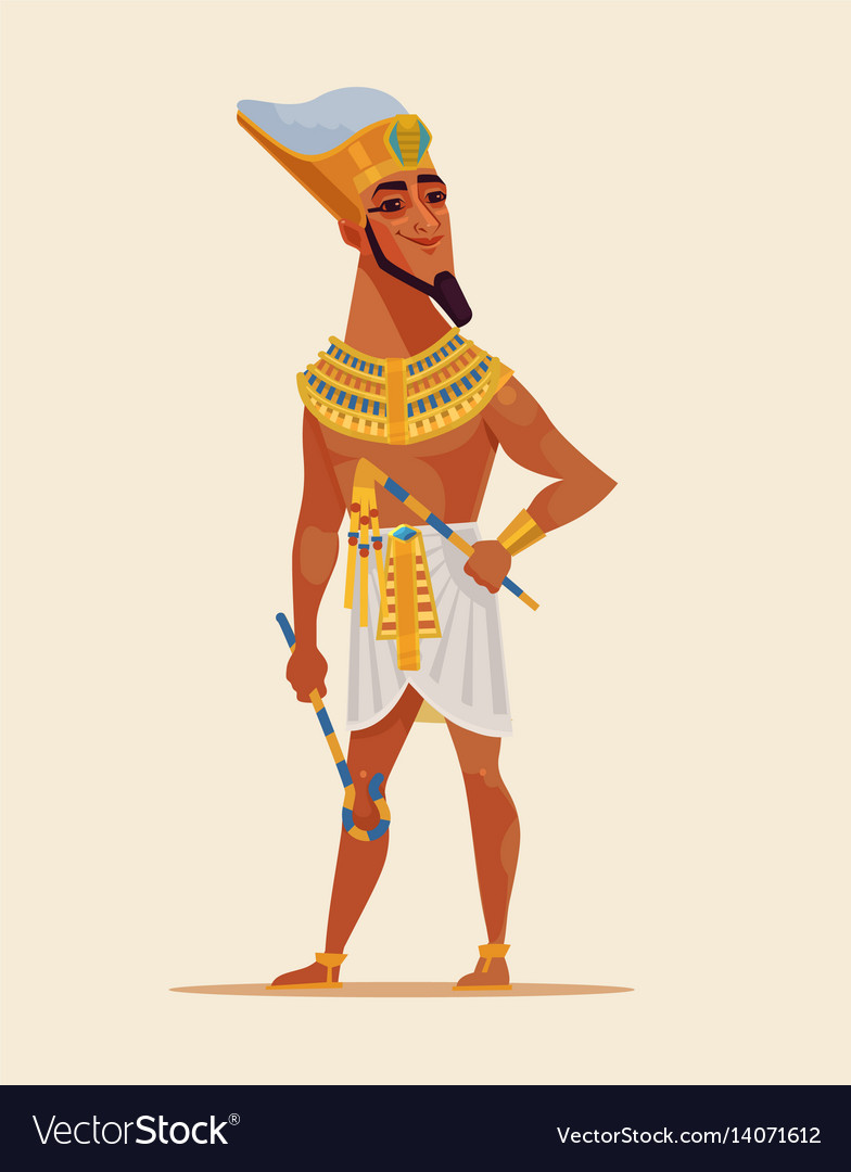 Happy smiling young egyptian pharaoh