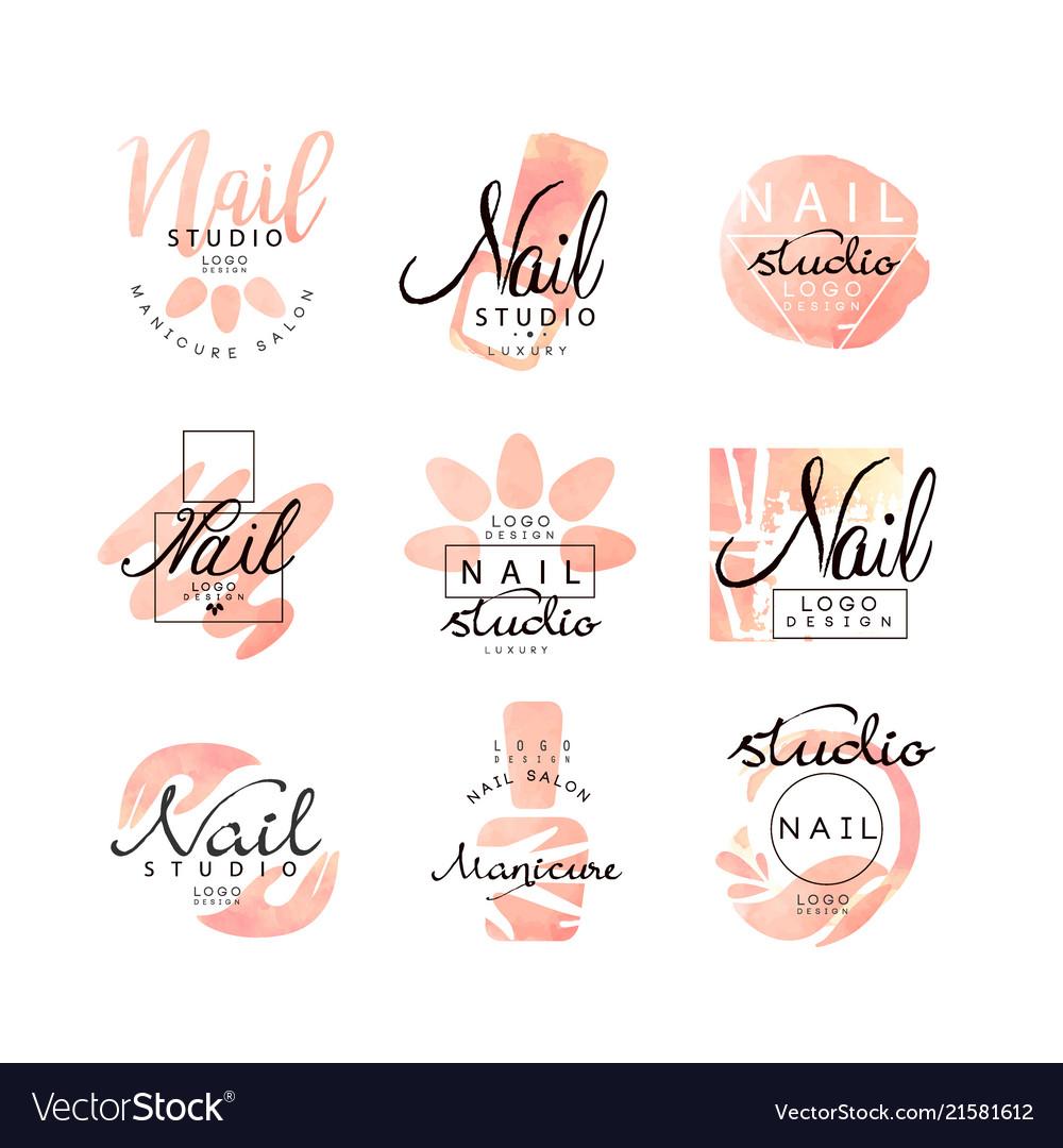 Manicure Nail Studio Logo Design Set Creative Vector Image