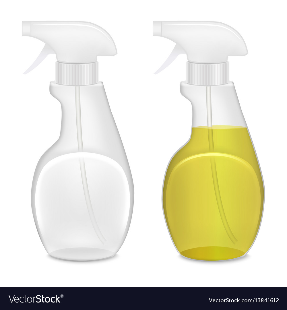 Realistic template blank white bottle spray set