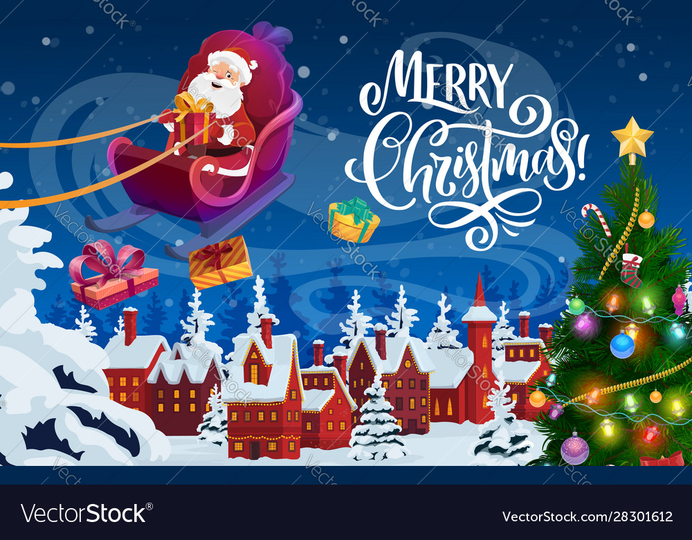 Santa claus with christmas gifts and xmas sledge