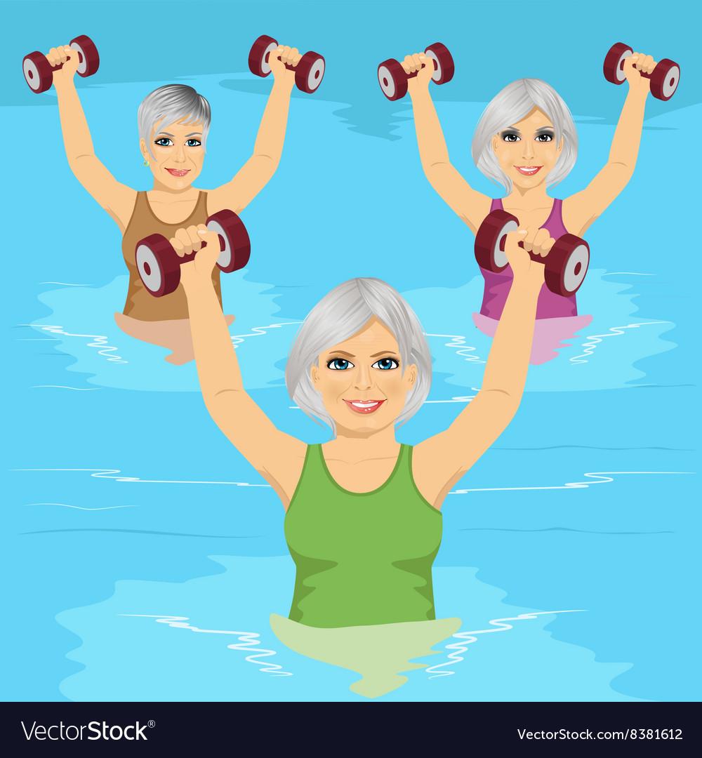 Senior women making aqua gym exercises
