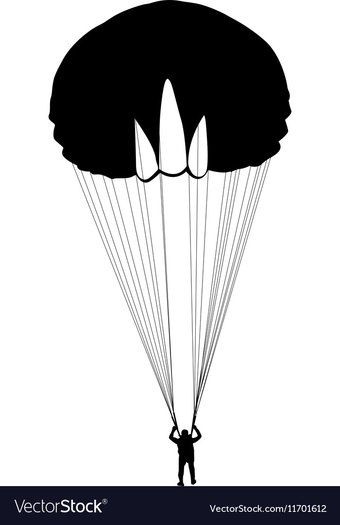 The Skydiver silhouettes parachuting a vector image