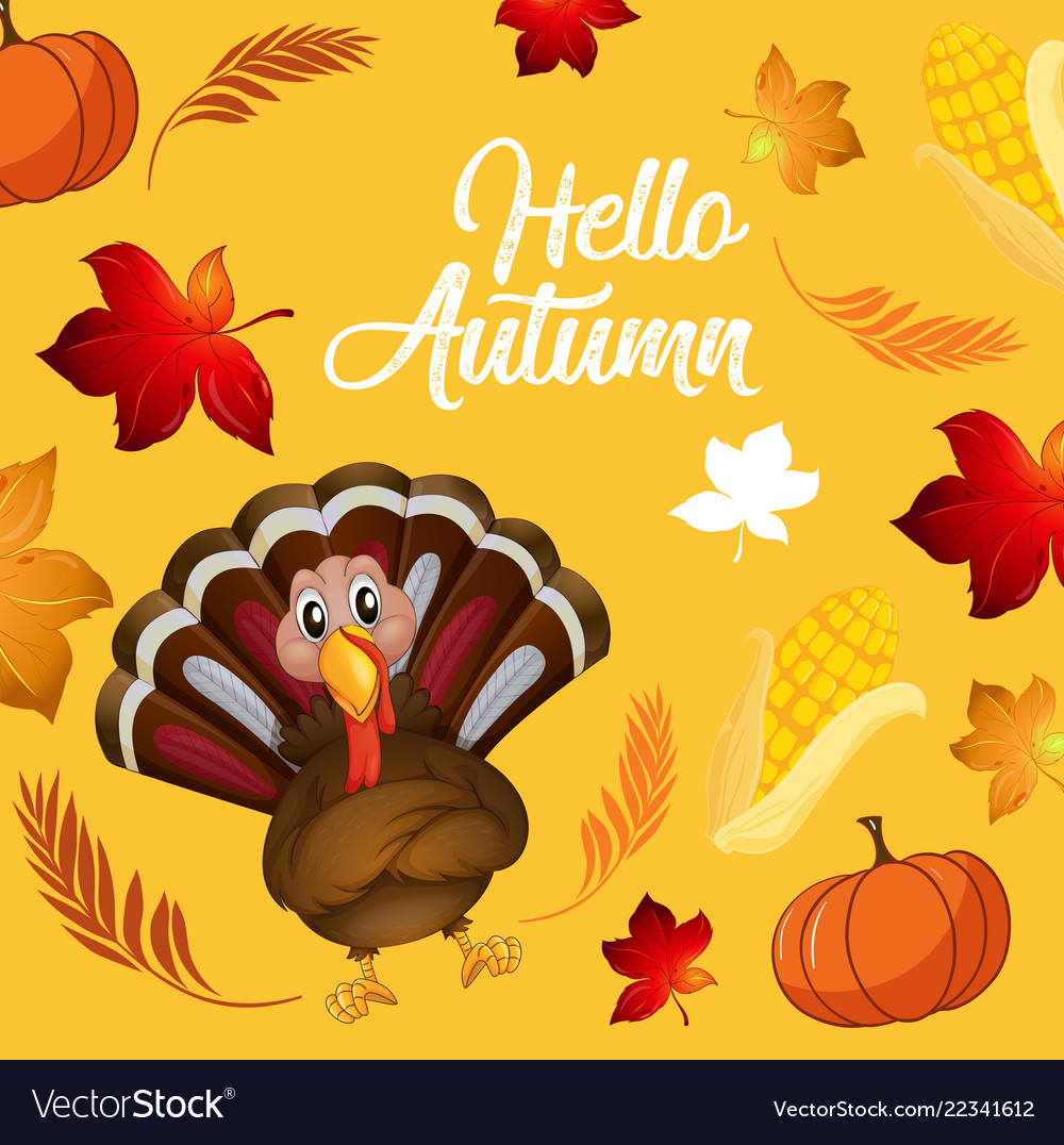 Turkey on autumn card template