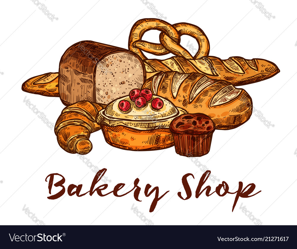 Bakery shop sketch of wheat bread and pastry food