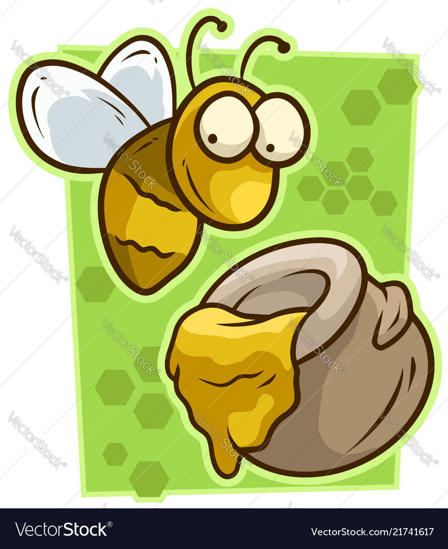 Cartoon cute yellow bee with honey jar icon