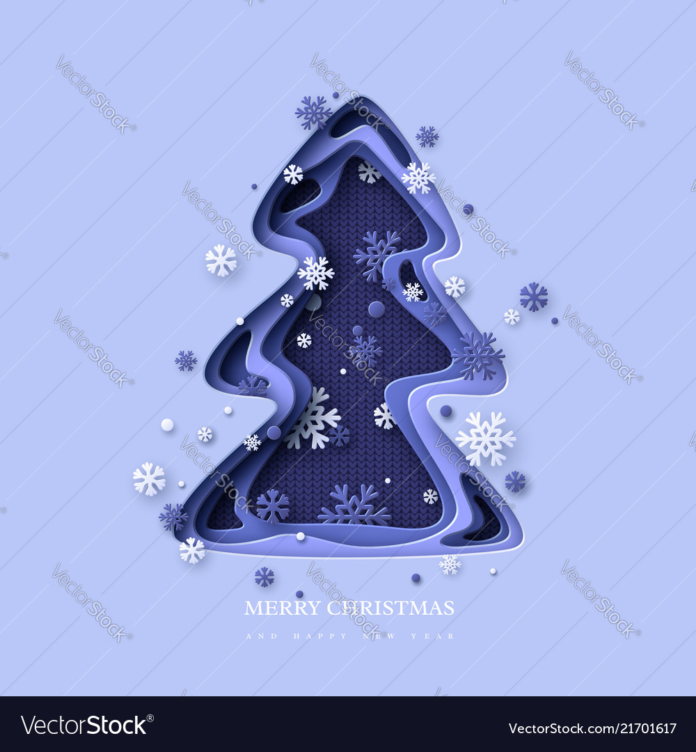 Christmas holiday design paper cut christmas tree