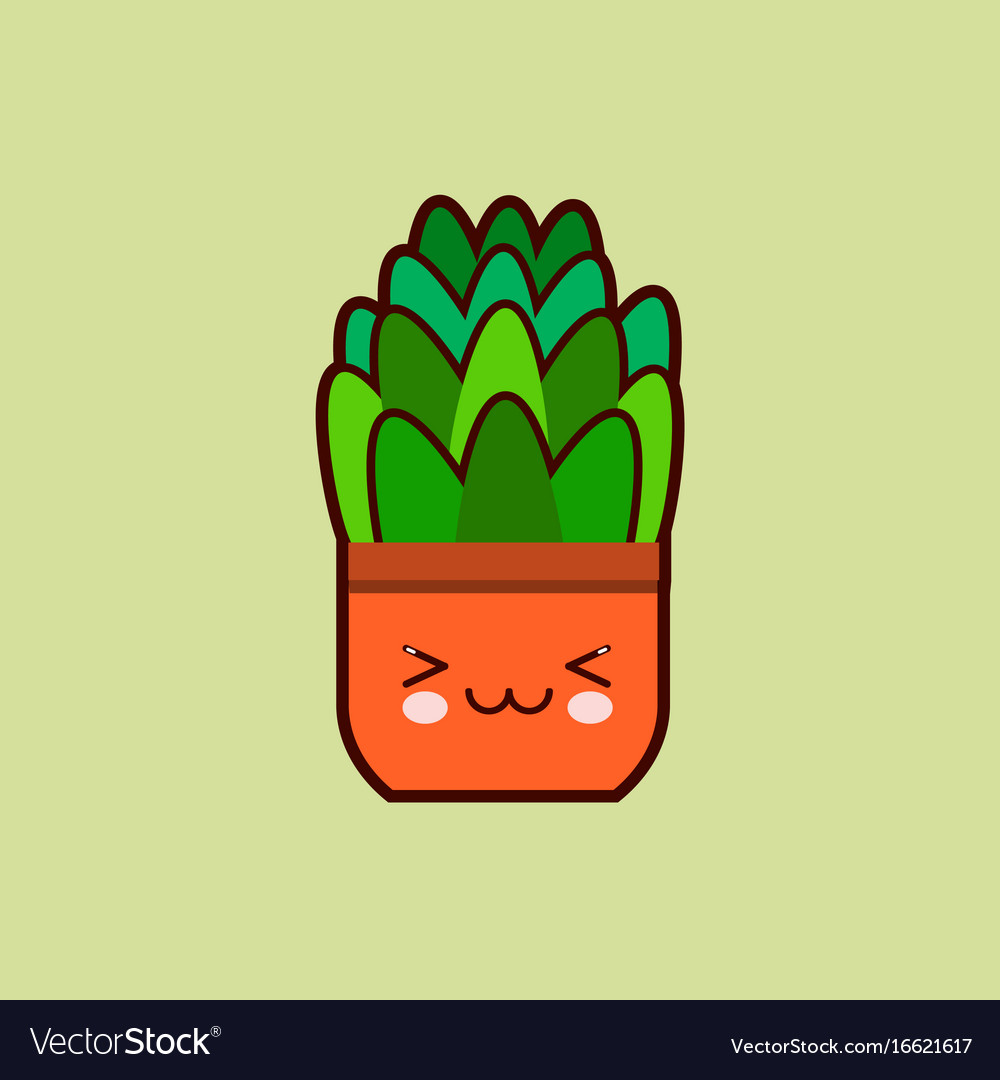 Cute cartoon flower icon with funny face in pot