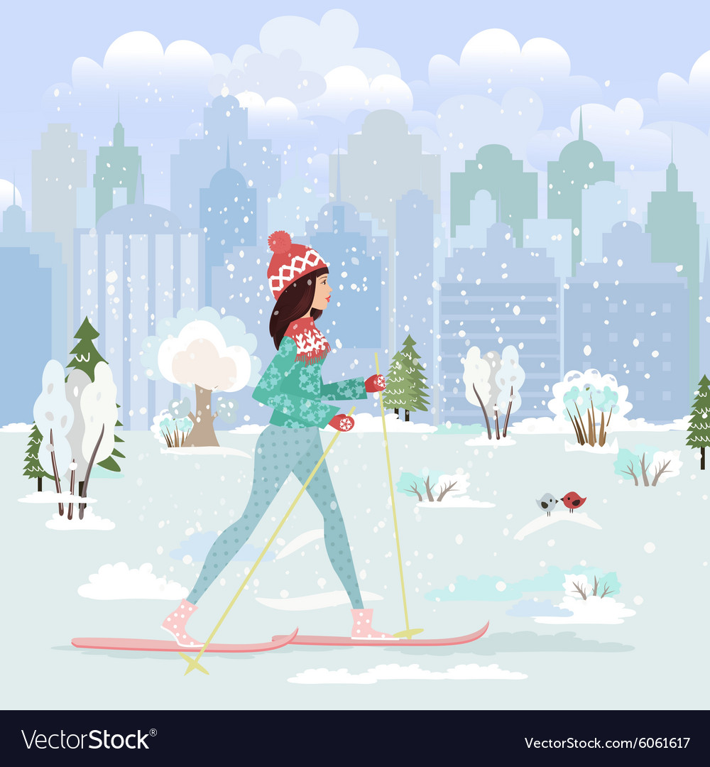Happy young woman cross country skiing in city