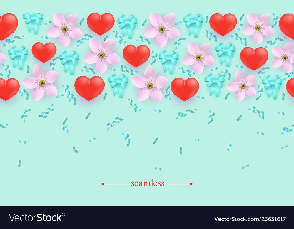 Heart on flower seamless pattern background