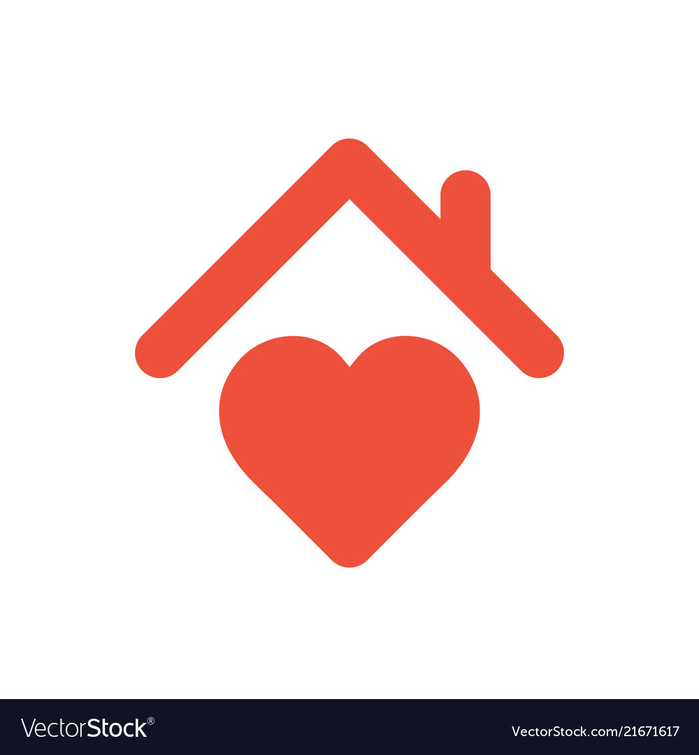 Excellent Heart Sign With Roof House With Heart Red Icon Home Remodeling Inspirations Genioncuboardxyz