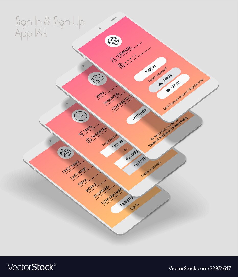 Mobile app ui sign in and sign up screens 3d