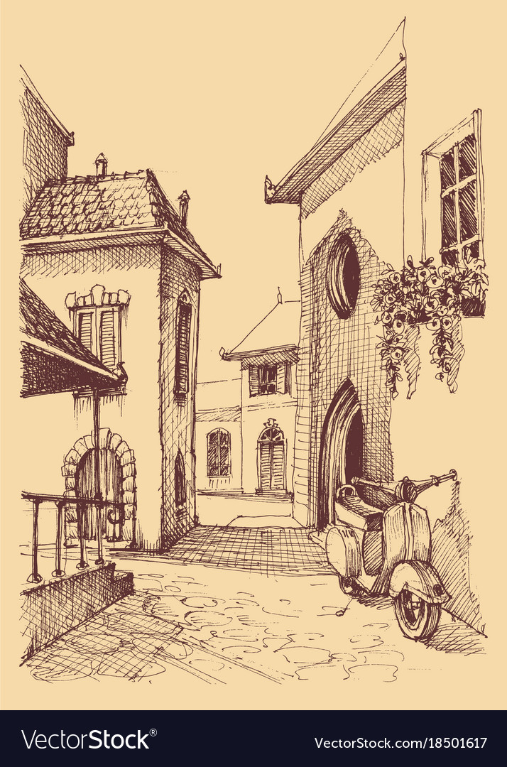 Old city hand drawing small street and motor