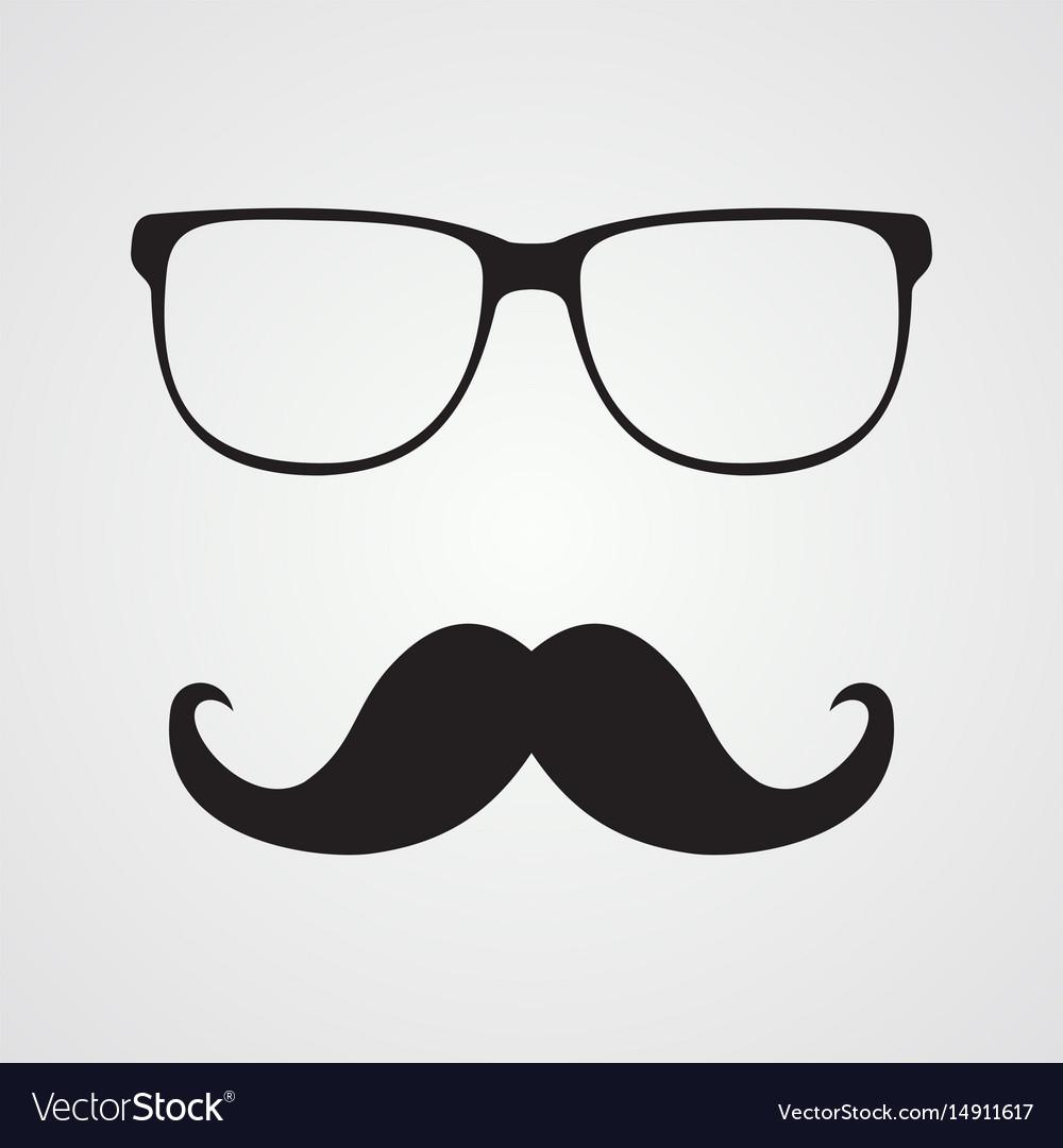 625dc1fc3de Retro hipster mustache and glasses symbol Vector Image