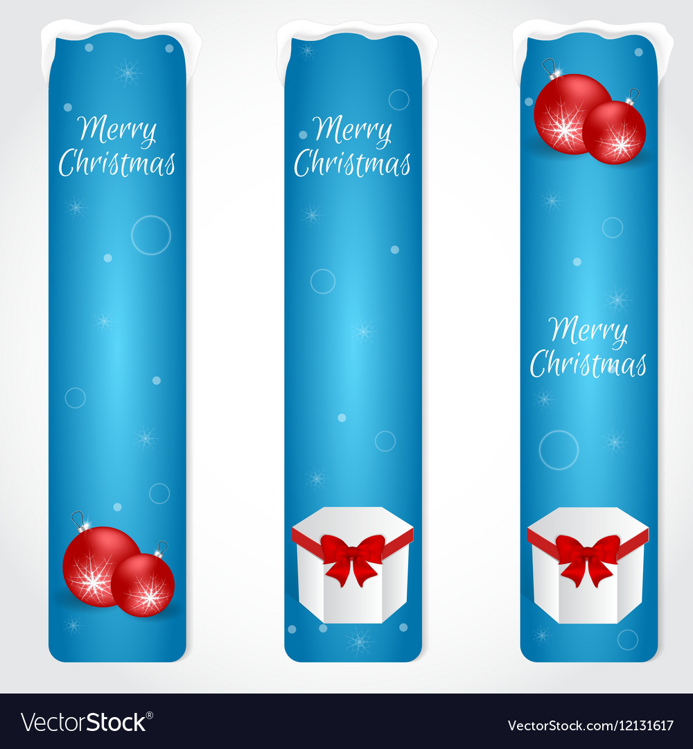 Three blue Christmas vertical banner with red