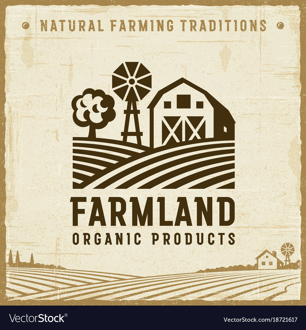 Vintage farmland label