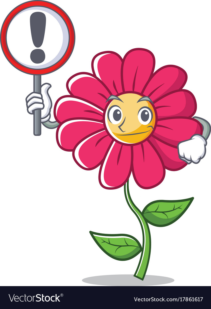 With Sign Pink Flower Character Cartoon Royalty Free Vector