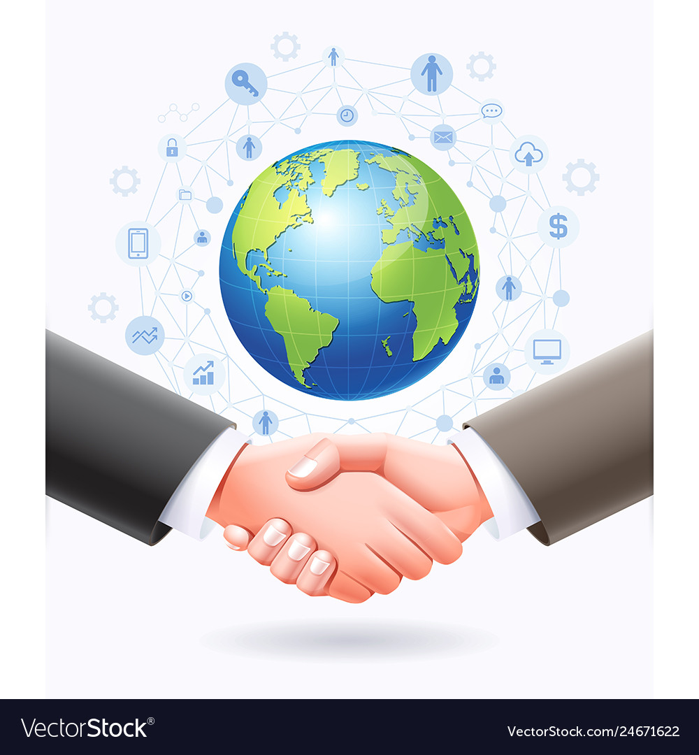 Business handshake with globe earth background