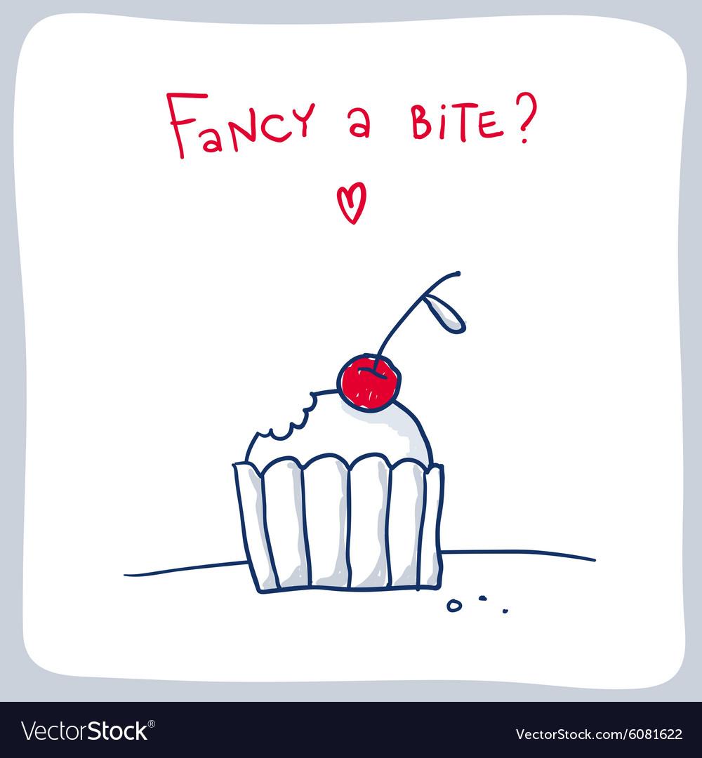 Cute sketch of the bitten cupcake valentine card