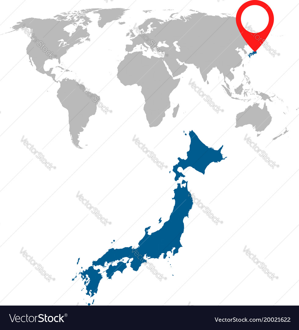 Navigation World Map.Detailed Map Of Japan And World Map Navigation Vector Image