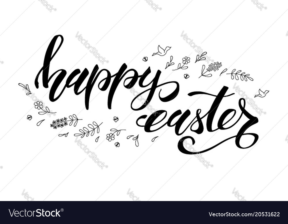 Happy easter greeting template with black and