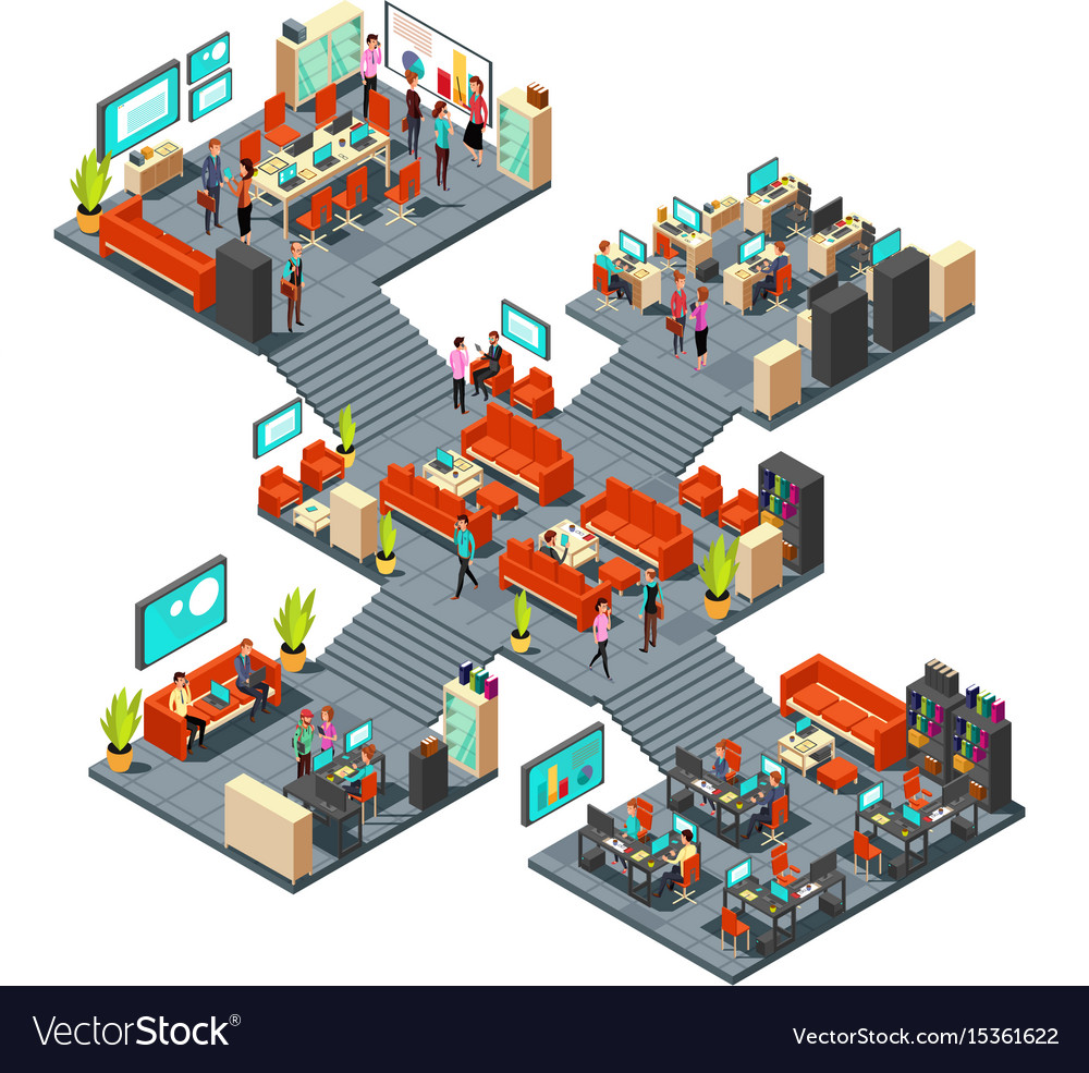 Isometric business offices with staff 3d