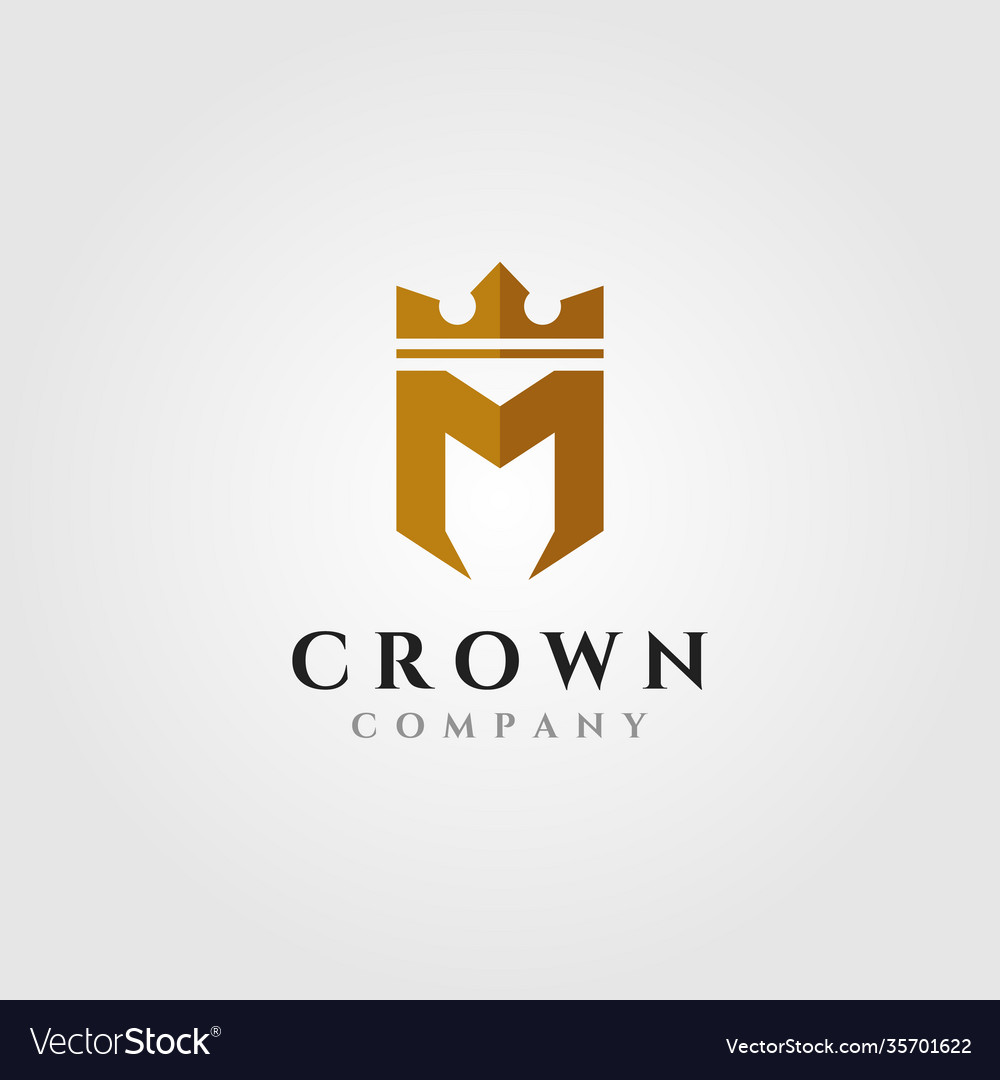 Letter m with crown logo initial symbol design
