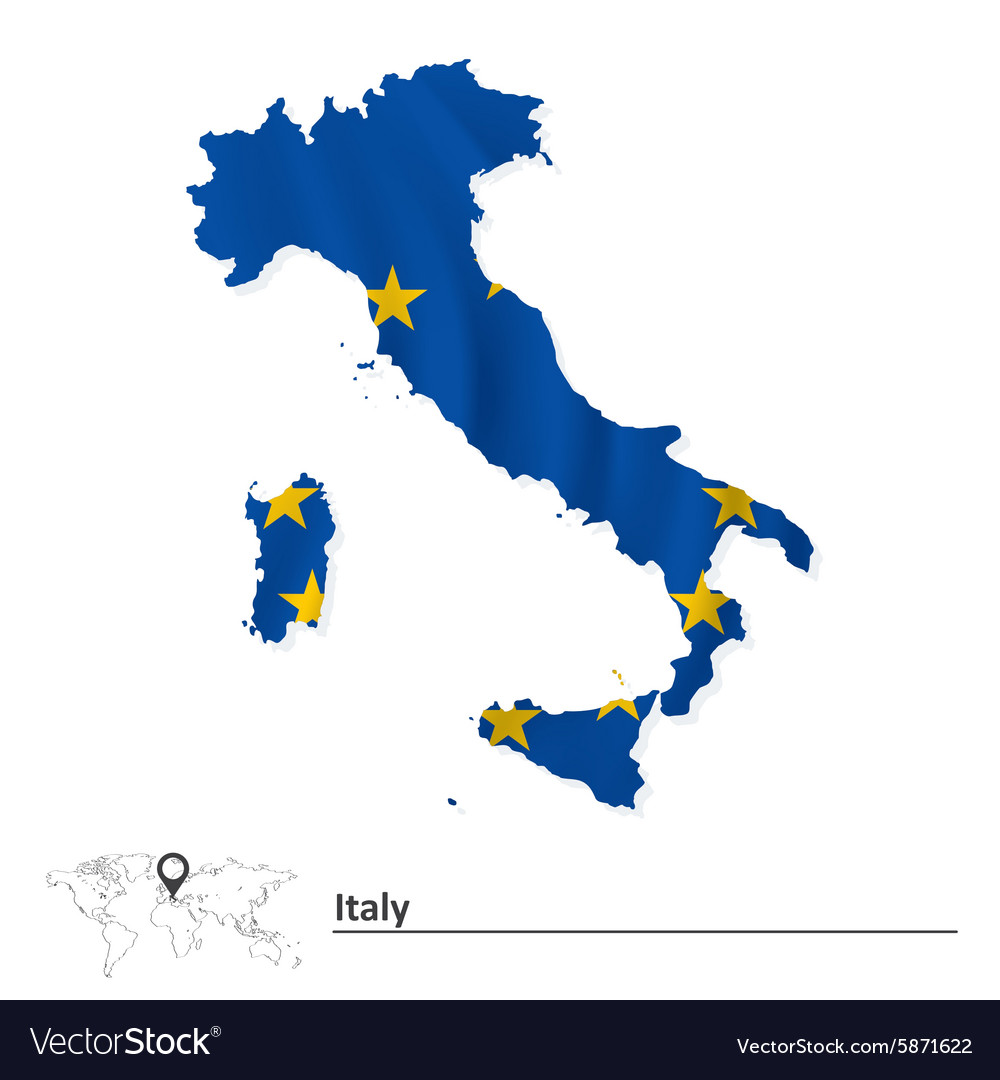 Map of Italy with European Union flag