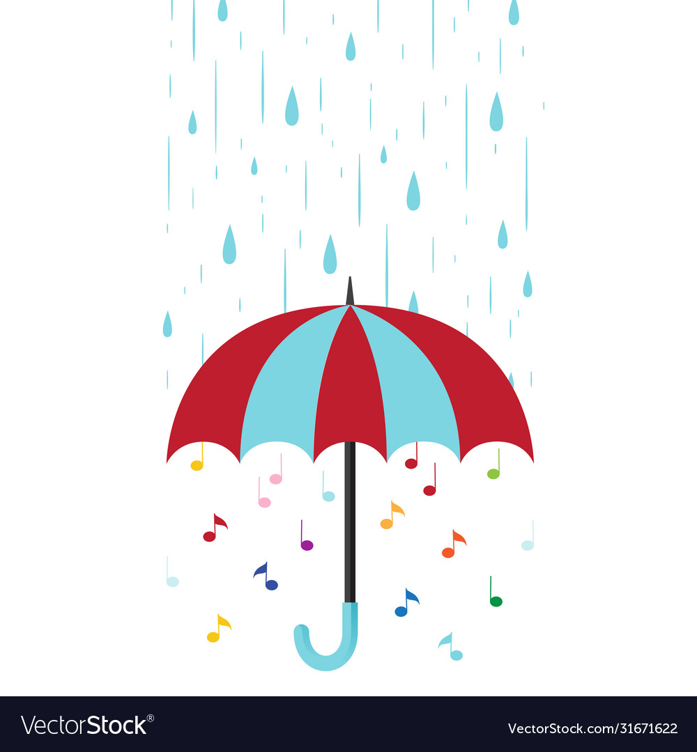 Musical background with umbrella and rain flat
