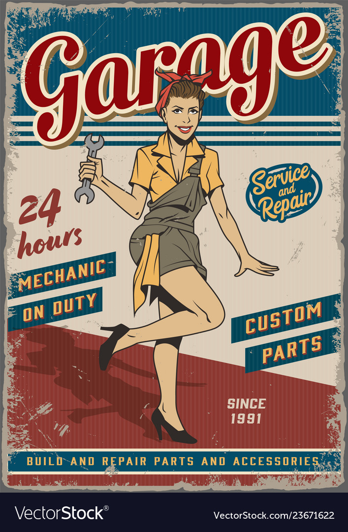 Retro garage repair service vintage poster