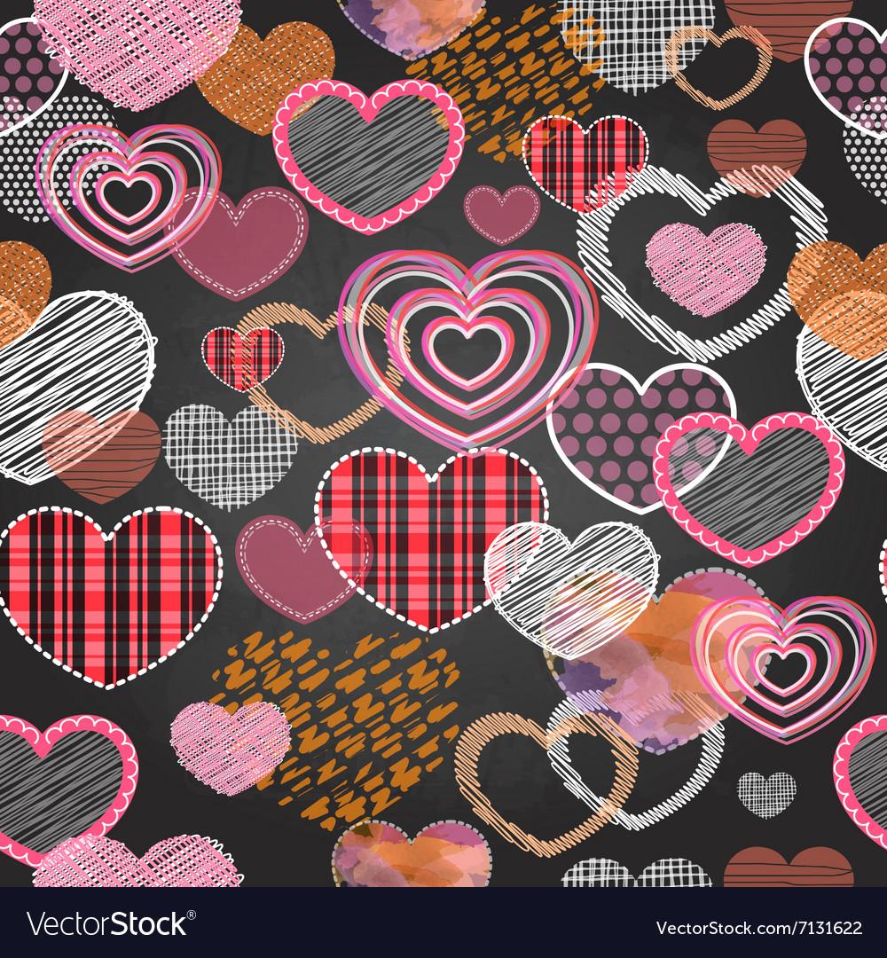 Seamless pattern of valentine love hearts
