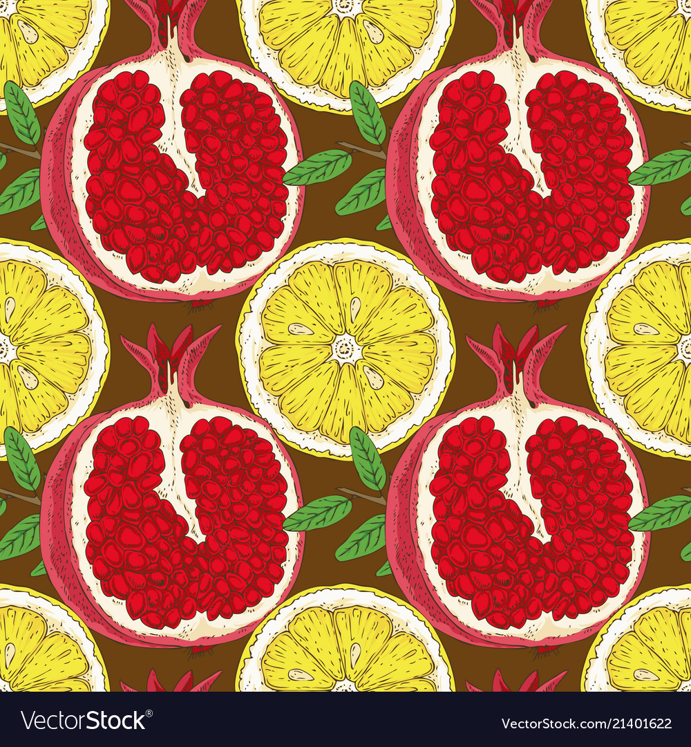 Seamless pattern with lemon slices and pomegranate