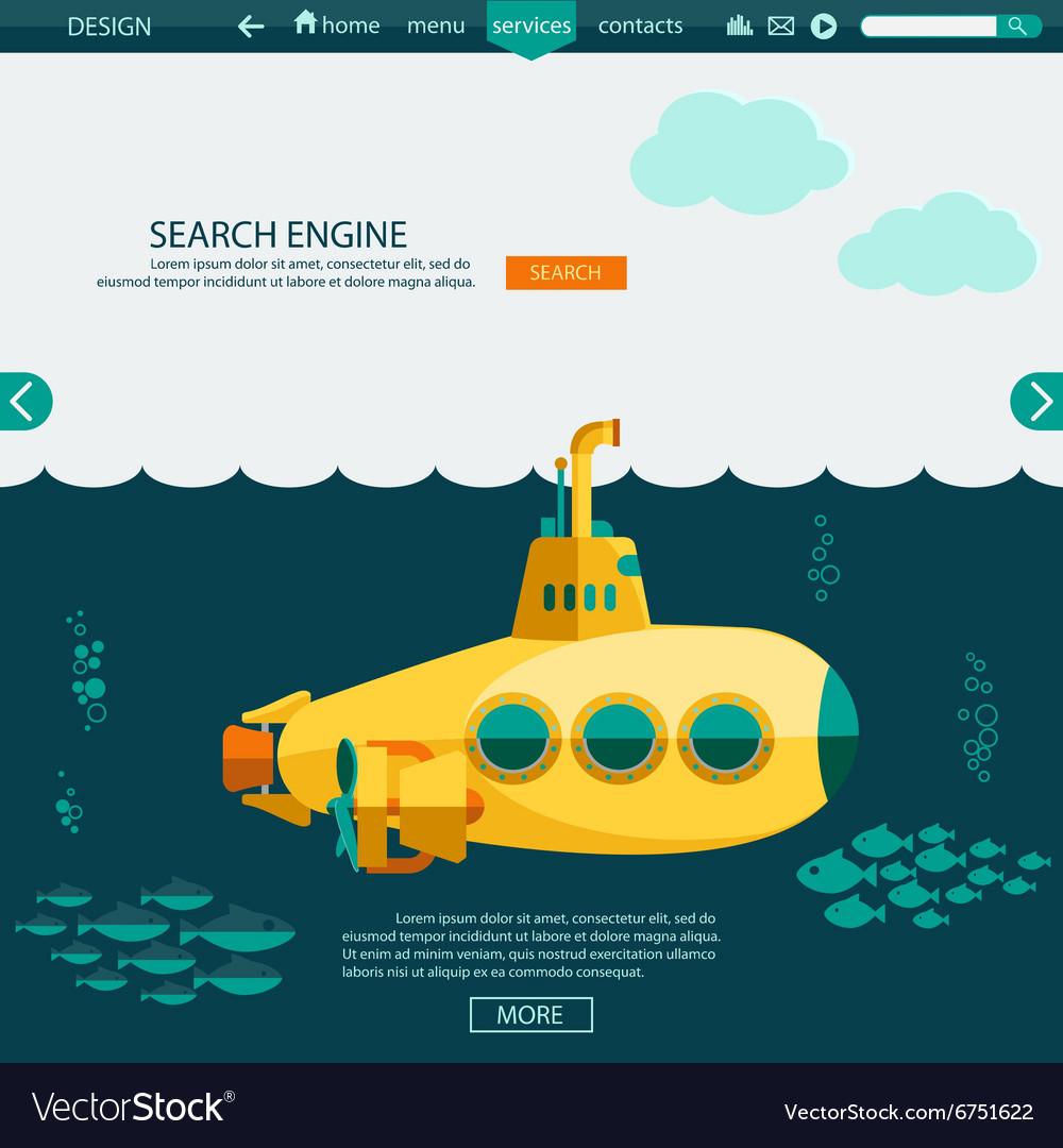 Submarine undersea SEO website template Royalty Free Vector