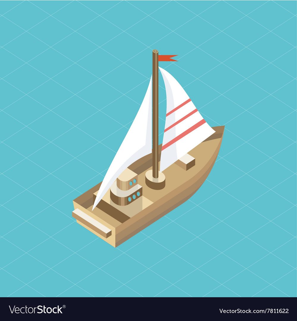 Yacht at Sea Isolated Icon Isometric