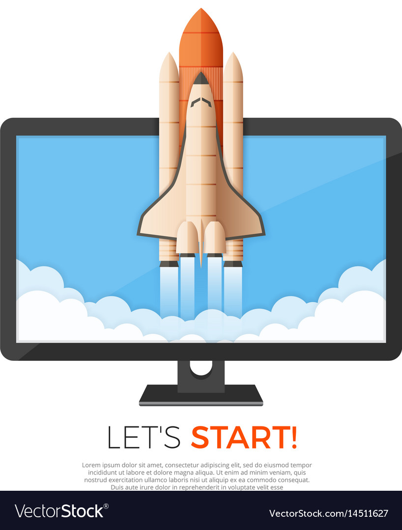 Business startup concept rocket or space shuttle